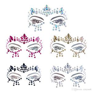 Triés à la main Bohême Tribal Style 3D Cristal Autocollant Bijoux Visage et Oeil Front Décor de scène Tatouage Temporaire Autocollant Bikini Décoration