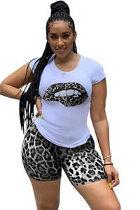 Mulheres Luxury Designer Treino Leopard Impresso com painéis Lips manga curta Womens 2pcs Set Roupa Esporte