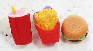Nueva Oficina de la herramienta de diseño 3D Hamburgar chips Coka Cola pasteles de borradores creativo Borrador 3D lápiz de goma regalo de Navidad Borrador