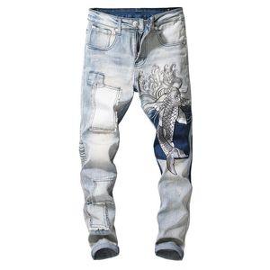 Septhydrogen Brand Designer Men's Vintage Carp Embroidery Patchwork Jeans Slim Fit Straight Stretch Denim Pants Fashion Jeans