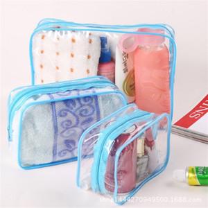 Bolsa de lavado de engrosamiento de PVC Organizador transparente Cajas de almacenamiento de maquillaje Admisión a prueba de polvo a prueba de agua Nuevo patrón con varios tamaños 1 7ms J1