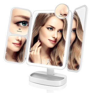 EASEHOLD 2x 5x 10x Magnifying Makeup Mirror Vanity 66 LEDs Rechargeable 3 Color Modes Adjustable 180 and 90 Degree Rotation CX200630