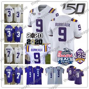 NCAA LSU Tigers # 9 Joe Burrow Burreaux Odell Beckham Jr. Delpit Mathieu Pseudo 2020 Peach Bowl 150e College Football Jersey