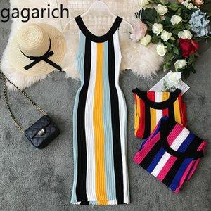Gagarich 2019 Moda Stretch Çizgili Kadınlar Elbise Kolsuz Diz Boyu Yaz Sonbahar Chic Örme BODYCON Bayan Modelleri Y200418