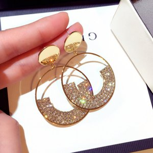 Luxury Shining Gold Color Crystal Drop Earrings for Women Geometry Round Rhinestone Dangle Earring Wedding Party Jewelry