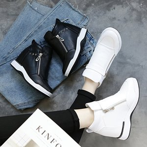 SWYIVY PU Plate-forme Sneakers Chaussures Femme Blanc Zipper New 2019 Automne Chaussures Femme Casual Femme Wedge chaussures de sport pour femmes Mode