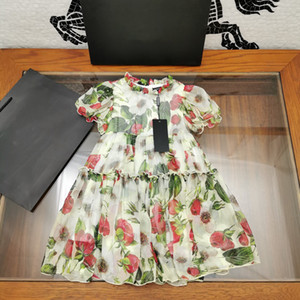 Summer New fahsion Designer high quality Baby clothes girl flower print chiffon dresss vacation outfit Wholesale Plaid princess flora dress