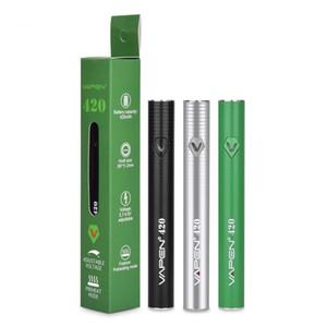 VAPEN 420 Precalentamiento Batería VV 420mAh Voltaje variable Carga micro USB inferior ajustable para 510 hilos Cartuchos de aceite Tanque Smartcart ego