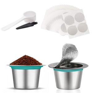 Filtro de aço inoxidável reutilizável Café Capsule recarregáveis café para a Nespresso com plástico Colher escova de limpeza da folha de alumínio