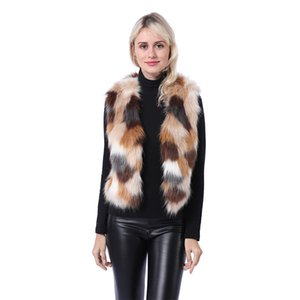 فو جلد الثعلب الفراء سترة الفراء قصيرة الإناث مروحة اللون معطف سترة ضئيلة التخسيس NV101