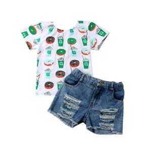 US STOCK 2ST Kind-Baby stilvolle Kleidung Top-Plätzchen Druck-Kurzschluss-Hülsen-Backless T-Shirt Crippled Denim Shorts Outfit