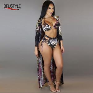 BFUSTYLE Mulheres 3 Pieces Bikini Define Folha Impresso brasileiro maiô 2019 Sexy cintura alta Cover Up Swimsuit