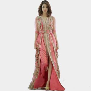 2019 Yeni pembe elbise Fas Türkiye elbiseler yüksek kalite uzun kollu elbise kumaş dubai İslam elbiseler abiye Vestido De Festa