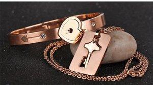 19pcs Set New Stainless Steel Silver Love Heart Lock Bangle Bracelet Matching Key Tag Pendant Necklace Couple Set