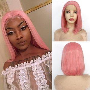 Rosa Frente Lace Wigs Por Black White Women diário reta curta Bob Wig Glueless resistente ao calor de fibra verde Bob sintética peruca de cabelo cosplay