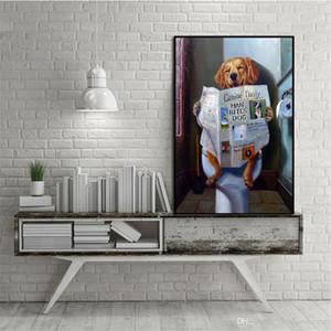 A. Высокое качество Симпатичные расписанную абстракционизм картина маслом Смешные собаки туалетное Reading Бумага на холсте стены искусства Главная Декоративное Nordic A44