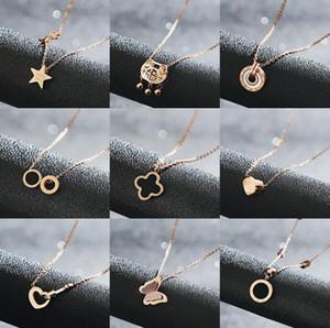 Colliers de créateurs de luxe pour les femmes Bijoux Chains Rose en or de titane en acier inoxydable Trèfle Pendentif Collier Wholsale Livraison gratuite