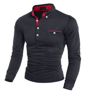 2019 New Spring Fashion Mens Dot Long Sleeve polo Shirts Stand Collar Male solid Polo Shirt free shipping plus size M-3XL T200528