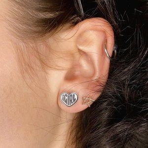 Punk Sliver Igirl Stub Earrings Jewelry Women Exclusive Harajuku Gothic Heart Shape Girls Korean Earring Accessory for Women