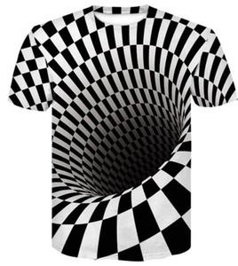 2019 Mens Entwurfs-beiläufige lose gedruckte T-Shirt Kleidung des Sommers neuer Schwindel Zusammenfassung Stereogramms Kurzarm T-Shirt, Bekleidung, Sportbekleidung Drucken