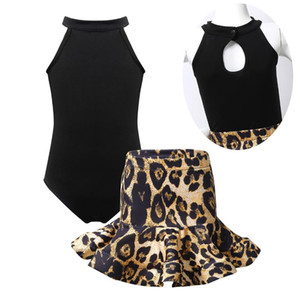 ChicTry Kids Girls Latin Dance Ballroom Dancewear Outfit Sleeveless Halter Neck Stretchy Leotard with Leopard Printed Skirt Set
