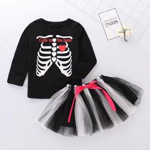 Kinder-Halloween-Kostüm der Mädchen-Ausstattungs-Set Spitzen T Spitze Tutu Funky Punky Knochen Halloween-Kleid für Mädchen