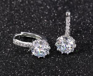 2020 Ear Stud Earrings For Women 11 Colors Round With Cubic Zircon Charm Flower Stud Earrings Women Jewelry Gift diamond earings