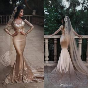 Wunderschöne Deep Champange Prom Party Kleider 2019 V-Ausschnitt Perlen Pailletten Spitze Applikationen Langarm Abendkleider Dubai Sexy Two Pieces Mermaid