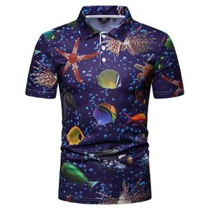 Mens T-shirts Sea World lapela do pescoço manga curta Mens Tops Verão magro Male Tees Azul Impresso Designer