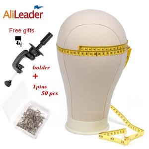 Alileader 21 22 23 24 25inch Bloc Canvas Professional tête pour perruque Mannequin Faire Kit blanc avec support tête malléable Pins