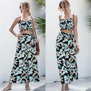 Костюмы летний дизайнер рукавов ремень Топы Widw Leg Pants Женщины Мода Повседневная наборы цветочным принтом 2PCS женщин