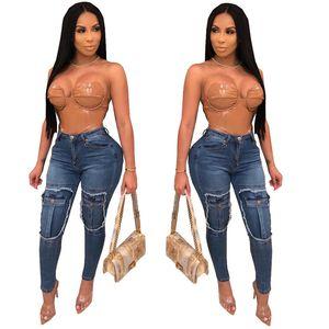 European American Women Jeans Fashion Panelled Fake Pockets High Waisted Elastic Skinny Long Jeans Women Designer Jeans