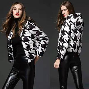 Hirondelle Gird imprimer vers le bas la veste pour les femmes design de luxe légères vestes en duvet womens taille de vêtements manteau capuche hiver chèque de S-2XL puffer