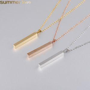 Bar en acier inoxydable collier pendentif Nouveau mode Barre d'or blanc massif en or rose d'argent Charm Pendentif pour l'acheteur propres bijoux de gravure