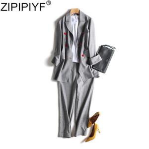 Rua de alta double breasted calças blazer elegante escritório lady turn down collar manga comprida casaco tornozelo-comprimento calça ternos Q981