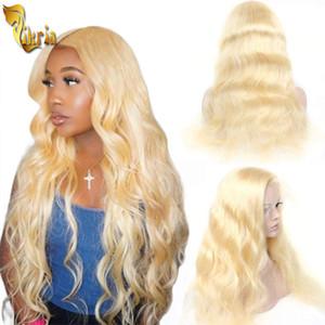 저렴한 # 613 금발 바디 웨이브 13x4 레이스 프런트 가발 전체 레이스 인간의 머리 가발 100 % 처리되지 않은 브라질 페루 말레이시아 레미 헤어 8 ~ 이십인치