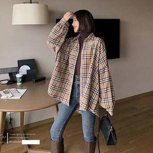 Moda yeni stil, bulanık ekose gömlek ekose gömlek ceket, gevşek zemin saç ve kalın fener kol Retro üst baskılı