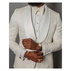 Elfenbein-formale Hochzeit Männer Anzüge 2019 Dreiteiliger fallendem Revers Maß Geschäfts Bräutigam Hochzeit Smoking (Jacket + Pants + Bow)