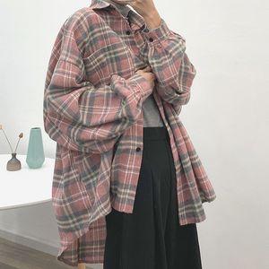 Full Blue Spring Korean-Style Women's Wear 2020 New Style Long-Sleeved Plaid Shirt Women's Cardigan Loose Shimmy Jacket