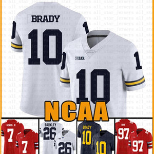 Michigan Wolverines brancas dult 10 homens Tom Brady futebol americano Jersey 10 Tom Brady 97 Nick Bosa 26 Saquon Barkley Jerseys