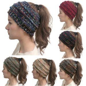 Mulheres malha Cabo Headband Inverno Headwrap Hairband Crochet Turban cabeça banda envoltório colorido Ear Warmer Acessórios de cabelo Letter na moda