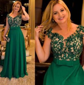 Vintage Kristal Boncuk Anne Gelin Elbiseler Uzun Yeşil Düğün Anne Elbise Örgün Bir Çizgi Pageant Annenin Elbise