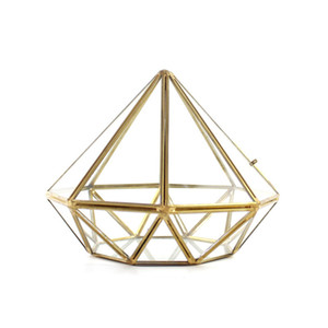 Gorgeous Diamond Shaped Glass Terrarium Modern Geometric Brass Succulent Planter Miniature Greenhouse Creative Metal Wire Flower Vase