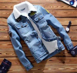 Pecho para hombres chaquetas charretera Penelled delgado de la manera individual Jean chaquetas casual hombres Ropa para hombre del diseñador Jean