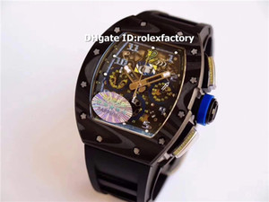 Top KV 011 Mens Watch Felipe Massa Carbono Forjado Esqueleto Dial Swiss 7750 Movimento Automático 28800bph Rubber Strap Sport relógio de pulso