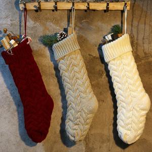 Новогоднее украшение Knit висячих чулки конфета мешок подарков мешок партия Праздник Рождественский чулок Праздничный Supplies 3 цвета ZZA1150