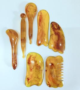 7pcs / set Conseil Scraper Ambre Cire d'abeille méridien du corps Massage du visage Rouleau Résine déchirage Conseil Santé Beauté Outil GGA3015-2