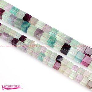 """Envío Gratis 6,8mm Color Natural Fluorita Piedra Forma Cuadrada DIY Gemas Granos Sueltos Strand 15 """"Fabricación de Joyas wj366"""