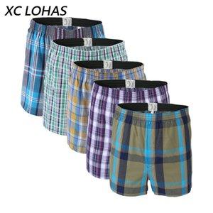 5 stücke herren underwear boxershorts casual baumwolle schlaf unterhose qualität plaid lose komfortable homewear striped arrow höschen q190517