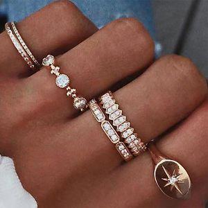 حزام أزياء المرأة مجموعة كريستال مهد ستار BAGUE البوهيمي المعادن الحد الأدنى الزفاف خواتم الاصبع النساء